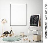 mock up poster frame in... | Shutterstock . vector #604134470