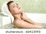 beautiful woman in a bathroom...   Shutterstock . vector #60413593