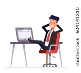 businessman or manager sits in... | Shutterstock .eps vector #604141310