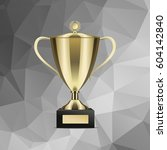 golden shiny trophy cup for win ...   Shutterstock .eps vector #604142840