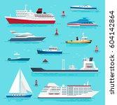 Set Of Sea Transport Flat Styl...