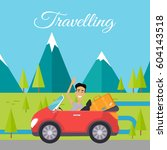 traveling by car. happy man... | Shutterstock .eps vector #604143518