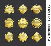 set of golden labels best... | Shutterstock .eps vector #604143560