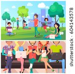 set of people and technology in ... | Shutterstock .eps vector #604143578