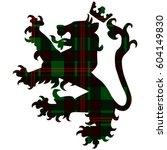 loin with crown on tartan...   Shutterstock .eps vector #604149830