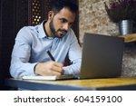 pensive handsome bearded male... | Shutterstock . vector #604159100