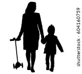 silhouette of happy family on a ... | Shutterstock . vector #604160759