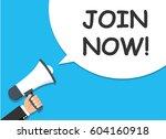 hand holding megaphone.... | Shutterstock .eps vector #604160918