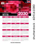useful wall calendar 2030 with... | Shutterstock .eps vector #604161080
