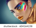 fashion model girl with colored ... | Shutterstock . vector #604164158