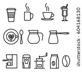 thin line flat coffee icons set | Shutterstock . vector #604168130