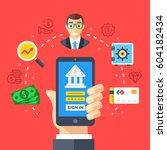 mobile banking. hand holding... | Shutterstock .eps vector #604182434