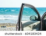 car door and beautiful seascape | Shutterstock . vector #604183424