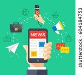 reading news on mobile phone.... | Shutterstock .eps vector #604184753