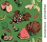 various fruits seamless pattern.... | Shutterstock .eps vector #604184960