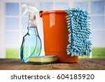 assorted cleaning products | Shutterstock . vector #604185920