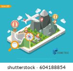 flat 3d isometric map mobile... | Shutterstock .eps vector #604188854