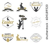 happy easter logo on a white...   Shutterstock .eps vector #604189520