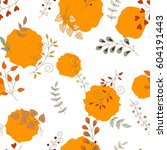 vector floral pattern. colorful ... | Shutterstock .eps vector #604191443
