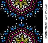 flower mandalas. vintage... | Shutterstock .eps vector #604193060