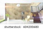 modern bright interior . 3d... | Shutterstock . vector #604200680