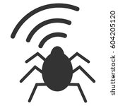 Radio Bug Vector Icon. Flat...