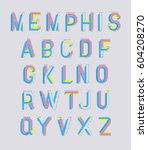 memphis style letters.... | Shutterstock .eps vector #604208270