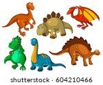 dinosaur animal cartoon icon... | Shutterstock .eps vector #604210466