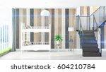 modern bright interior . 3d... | Shutterstock . vector #604210784