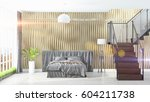 modern bright interior . 3d... | Shutterstock . vector #604211738