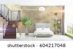 modern bright interior . 3d... | Shutterstock . vector #604217048