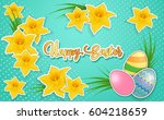 happy easter greeting card with ... | Shutterstock .eps vector #604218659