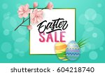 easter sale text with frame ... | Shutterstock .eps vector #604218740