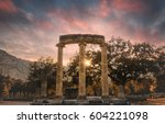 sunset in ancient olympia ... | Shutterstock . vector #604221098