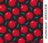 pomegranate seamless pattern... | Shutterstock .eps vector #604221518