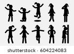 simple girl silhouettes set.... | Shutterstock .eps vector #604224083