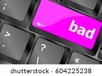 bad word on computer button... | Shutterstock . vector #604225238