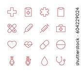 set of medicine vector line... | Shutterstock .eps vector #604229024