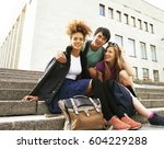 cute group of teenages at the... | Shutterstock . vector #604229288