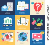 set of social business life... | Shutterstock .eps vector #604229684