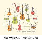 thin line set of musical... | Shutterstock .eps vector #604231970