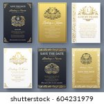 set of gold luxury flyer pages... | Shutterstock .eps vector #604231979