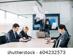 angry boss ceo yelling at... | Shutterstock . vector #604232573