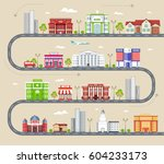 flat colorful vector city... | Shutterstock .eps vector #604233173