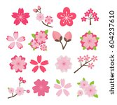cherry blossom icon set | Shutterstock .eps vector #604237610