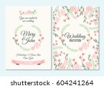 pink and green pastel wedding... | Shutterstock .eps vector #604241264