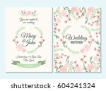 pink and green pastel wedding... | Shutterstock .eps vector #604241324