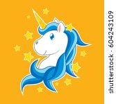 unicorn cartoon vector   blue | Shutterstock .eps vector #604243109