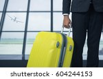 businessman and suitcase in the ... | Shutterstock . vector #604244153