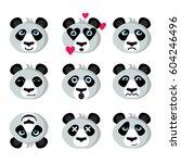 panda emotional  funny... | Shutterstock .eps vector #604246496